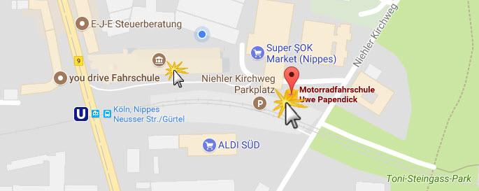 Wegbeschreibung und Anfahrt zur Motorrad Fahrschule Köln